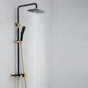 Colonne de douche avec douchette laiton noir or pour salle de bains