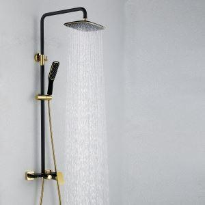 Colonne de douche avec douchette laiton noir d'or pour salle de bains