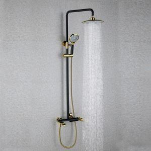 Conlonne de douche avec douchette laiton noir et doré