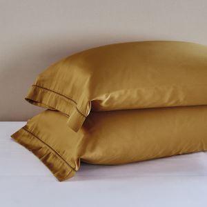(Entrepôt UE) Haut de gamme broderie couchage côté taie 60 enveloppes de couleur unie satin taie seule une paire de robe