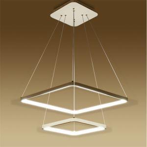 (Entrepôt UE) Moderne Simple Métal + Acrylique Blanc / blanc chaud LED SMD--1*60W Lustre 70CM+50CM+30CM,50CM+30CM