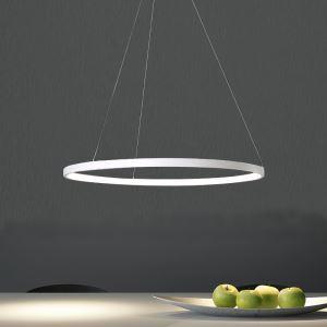 Suspension LED anneau D 40 cm 20W en métal acrylique blanc pour salle cuisine