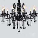Lustre baroque en métal cristal à 10 Lumières noir D88cm pour salon chambre classique