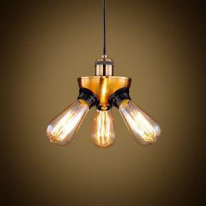 (Entrepôt UE) Suspension à 3 lampes style américain campagne industriel rétro rustique en fer cuivre lustre