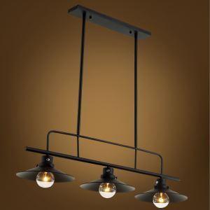 (Entrepôt UE) Lustre à 3 lampes style américain campagne industriel rétro rustique en fer luminaire de salon cuisine