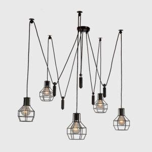 Suspension araignée à 8 lumières en fer dans style américain campagne pour salon bureau
