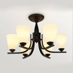 Lustre à 6 lampes en fer D50cm noir pour salon salle à manger