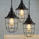 (Entrepôt UE) Suspension style américain campagne industriel rétro rustique en fer lampe de cuisine salon