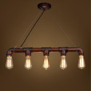 Suspension en fer tuyau à 5 lampes L67cm style américain campagne industriel rétro rustique pas cher