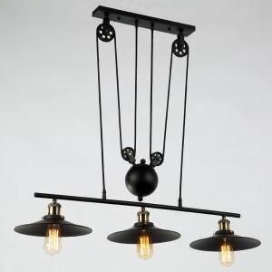 Suspension à 3 lampes en fer L 80 cm industriel rustique pour salle à manger