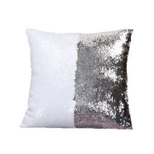 Taie de coussin 2 couleurs magique blanc et argent 40*40cm