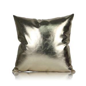 (Entrepôt UE)Style postmodernes simple Couleurs métalliques en cuir PU oreiller coussin de bureau lombaire de haute qualité 60*60cm pour canapé sofa