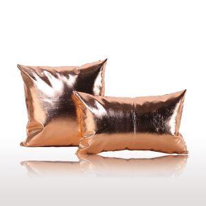 (Entrepôt UE)Style postmodernes simple Couleurs métalliques en cuir PU oreiller coussin de bureau lombaire de haute qualité 30*50cm pour canapé sofa