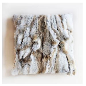 (Entrepôt UE) 100% poil de lapin vrai oreiller coussin de fourrure réel