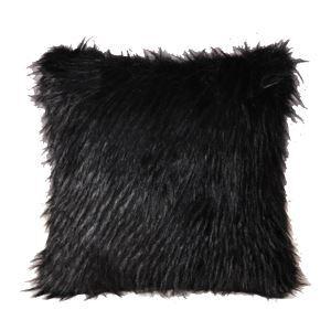 Oreiller Velours Noir luxueux Imitation fourrure
