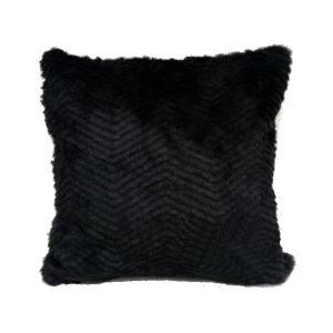 Oreiller Rayure noir imitation de fourrure coussin 50*50cm seul côté