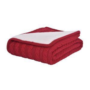 (Entrepôt UE) Plaid doux chaud pour canapé sofa chambre Rouge 120*180cm