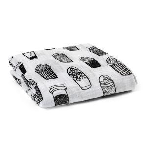 (Entrepôt UE) homelava conception indépendante, bébé sacs en coton noir et blanc serviette café Motif 120*120cm
