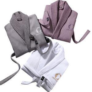 Peignoir kimono à col châle 3 couleurs haut de gamme pour automne l'hiver
