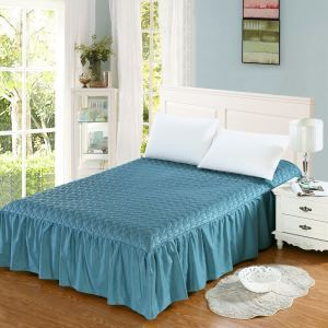 Jupe de lit matelassé Bleu de paon 150*200 cm literie minimaliste moderne