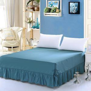 Jupe de lit Bleu vert 150*200 cm literie minimaliste moderne 100% coton