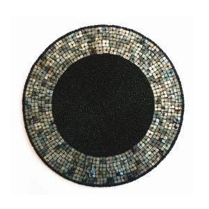 (Entrepôt UE) Set de table perlés à la main Perles de verre de coquille noir Haut de gamme napperon
