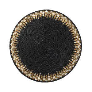 (Entrepôt UE) Set de table perlés à la main Noir Perles de verre de Paillette Haut de gamme de luxe napperon