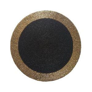 (Entrepôt UE) Set de table perlés à la main Noir bord Argent Perles de verre haut de gamme napperon