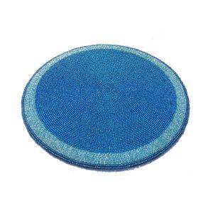 (Entrepôt UE)Set de table perlés à la main perle de verre bleu Brodé napperon