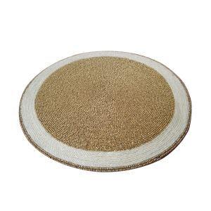 (Entrepôt UE)Set de table perlés à la main perles de verre, broderie kaki beige Haut de gamme de luxe napperon