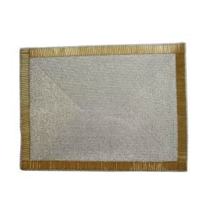 (Entrepôt UE)Set de table perlés à la main Perles de verre argent avec bord argent Haut de gamme de luxe napperon rectangulaire