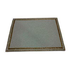 (Entrepôt UE)Set de table perlés à la main Perles de verre blanc avec bord jaune Haut de gamme de luxe napperon rectangulaire