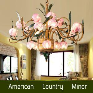 Lustre à 20 lumières LED en fer lotus violet D85cm vintage rétro luxe pour salon