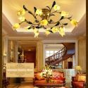 Plafonnier LED Fer doré tulipe à 15 lampes luxe pour salon