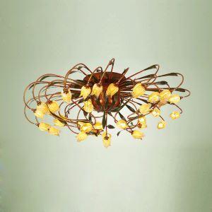 Plafonnier LED à 38 lampes D80cm rétro fer doré tulipe à luxe pour salon