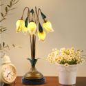 LED Lampe à poser fer doré tulipe à 5 lampes luxe pour salon
