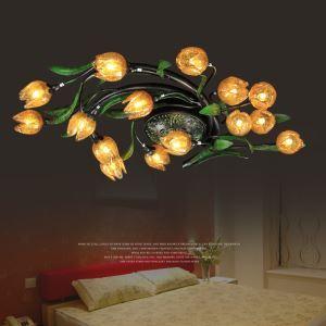 (Entrepôt UE) Style européen Vintage rétro Fer lotus d'or abat-jour vernissé avec 5 lumières LED Plafonnier