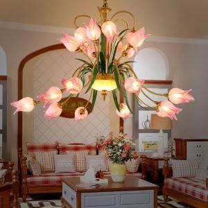 LED Lustre Fer fuchsia tulipe à 20 lampes luxe pour salon