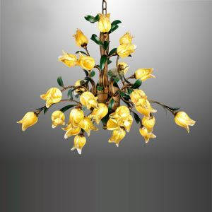 LED Lustre Fer doré tulipe à 27 lampes luxe pour salon