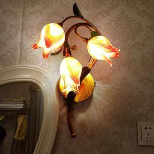 LED Applique murale Fer fuchsia tulipe à trois lampes luxe pour salon