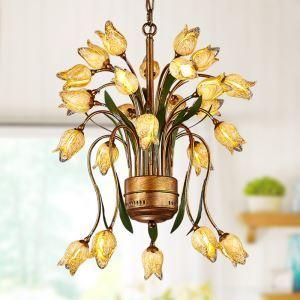 LED Lustre Fer doré tulipe à 25 lampes luxe pour salon
