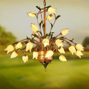 LED Lustre Fer doré tulipe à 21 lampes luxe pour salon