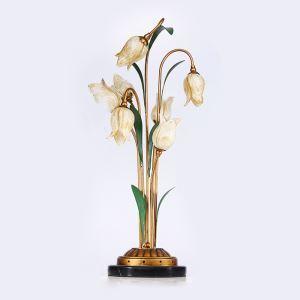 Lampe de table LED Fer doré tulipe à 7 lampes luxe pour salle