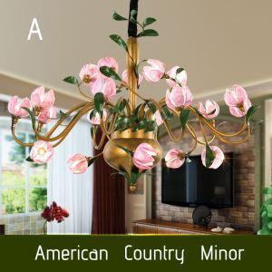 Lustre LED Fer tulipe/lotus/lys en fuchsia pourpre à 20 lampes 3 modèles luxe pour salon