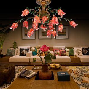 Plafonnier LED Fer Rouge tulipe à avec 18 lampes D75cm luxe pour salon