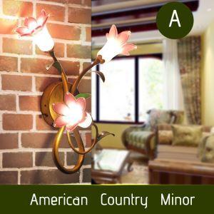 (Entrepôt UE) Style européen Vintage rétro Fer lys pourpre abat-jour vernissé trois lumières LED Applique murale