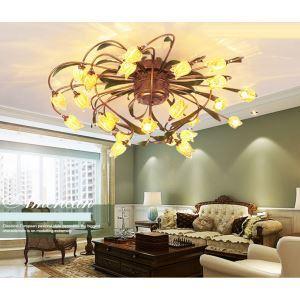 Plafonnier LED Fer doré tulipe à 24 lampes luxe pour salon