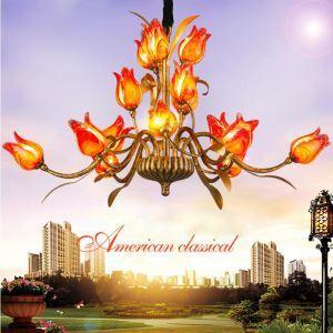 Lustre LED Fer Rouge/doré/blanc tulipe à 15 lampes 3 modèles luxe pour salon