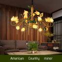 Lustre LED Fer doré tulipe à 20 lampes luxe pour salon