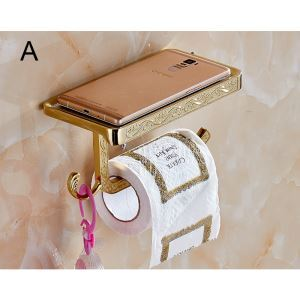 (Entrepôt UE) Porte-papier porte-téléphone style moderne simple Accessoires de salle de bain en cuivre sculpture trois modèles
